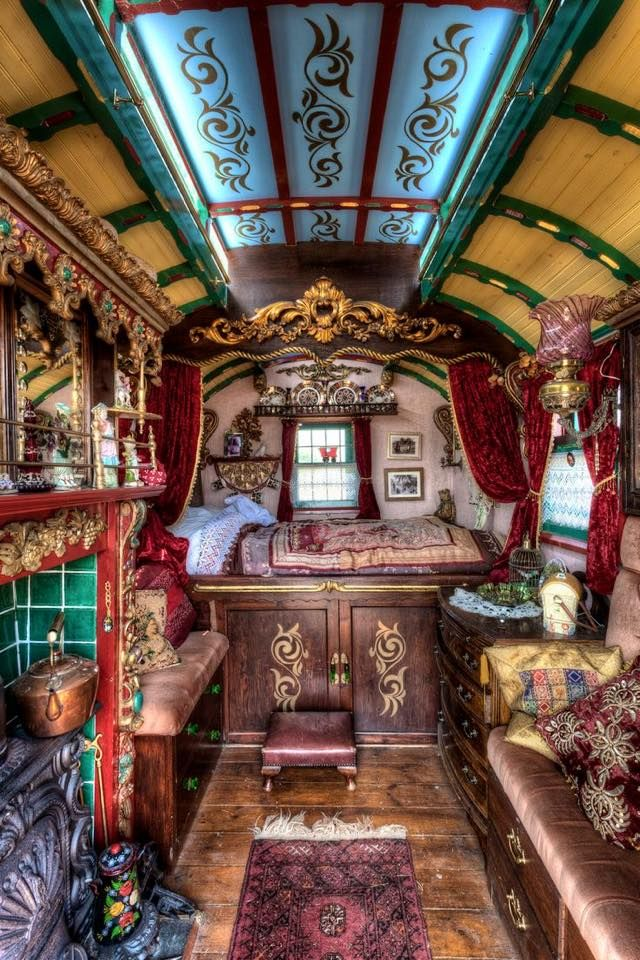 Interior view of a Gypsy owned, Horse-Drawn Caravan built sometime in the mid 1800's.