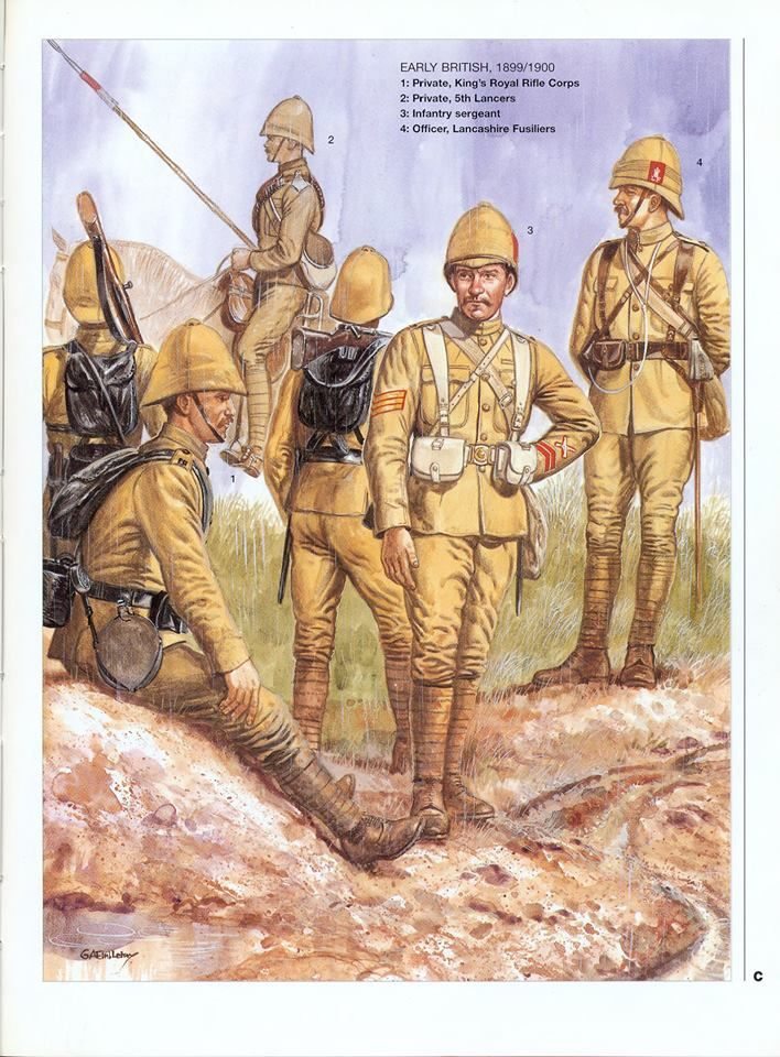EARLY BRITISH 1899/1900 1:Private,King's Royal Rifle Corps.2:Private,5th Lancers.3:Infantry sergeant.4:Officer,Lancashire Fusiliers.