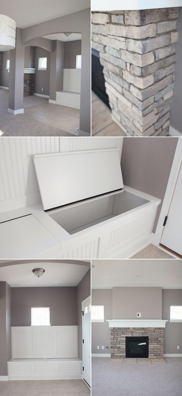 "Benjamin Moore Stormy Monday,,,,love it all......so many ""natural neutrals""...looks like river rocks all over with crisp whites and then your warm wood floor and ceiling---great bench template too---take this to carpenter :)"