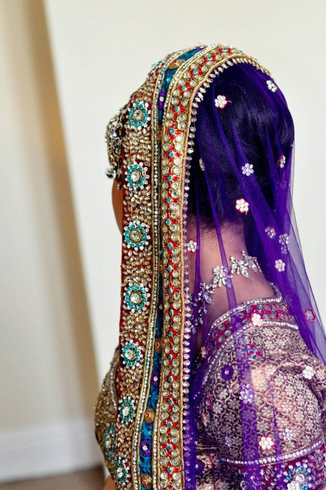 purple/blue wedding lengha