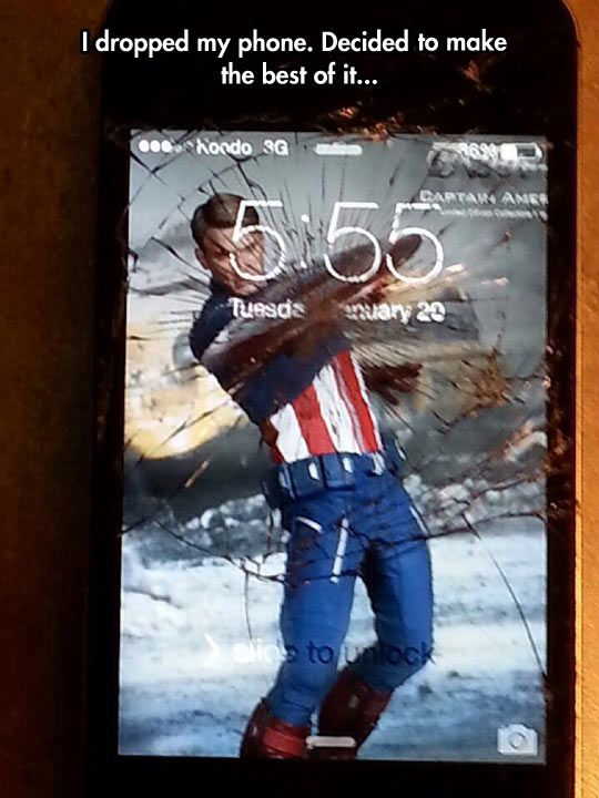 I've only seen iron man but this is great. I now want a series of phone pictures that are of the avengers for broken screens.