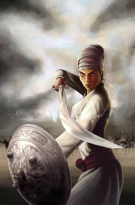 Mai Bhago also Known as Mata Bhag Kaur was a Sikh woman who led Sikh soldiers against the mughals in 1705. She killed several enemy soldiers on the battlefield, and is considered to be a saint by Sikhs.
