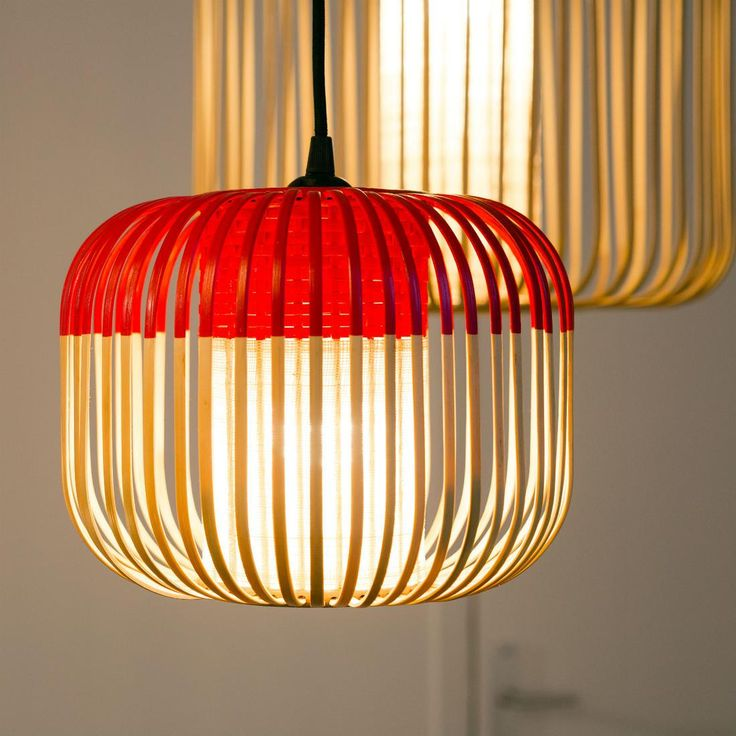 BAMBOO - Suspension Bambou/Rouge H23cm Forestier