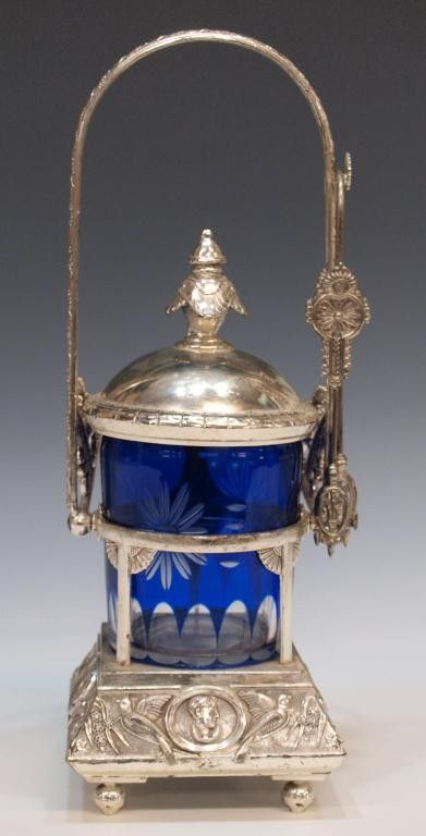 American Victorian Pickle Caster, Cobalt Cut to Clear Glass with Silver Plate Stand, Tongs and Lid