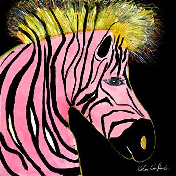 50cm Colin Crawfords Wall Art - Pink Zebra