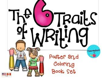 6 Trait Writing:  Here is a set of 6 Trait Writing Posters to help students understand what the traits are in kid friendly language.  The posters are colored but have a white background for my economical printing.  Each trait is also represented by a black and white version that, when copied back to back makes a lovely 6 Traits of Writing book for your students to color as a reminder of what each trait is.