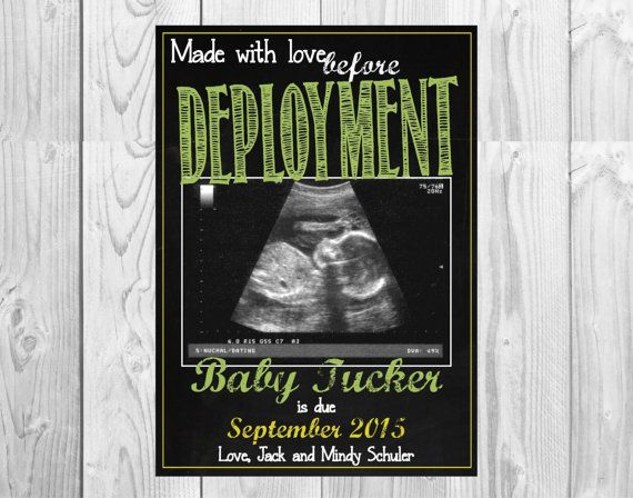 Military Themed Pregnancy Announcement Chalkboard Card // Made with Love Before Deployment // (5x7): *Digital File* by MMasonDesigns