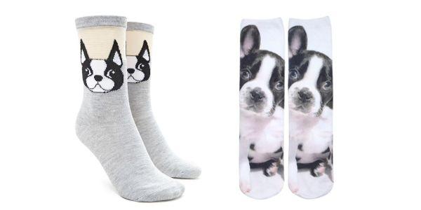Deux modèles de chaussettes de Boston terrier à 6,90$