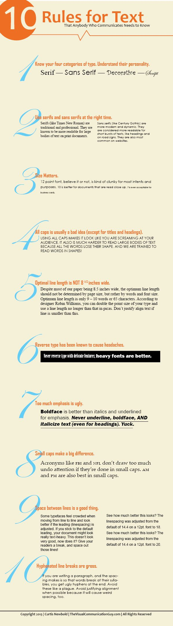Ten Rules for using Text -- to be a better designer and communicator. From The Visual Communication Guy.