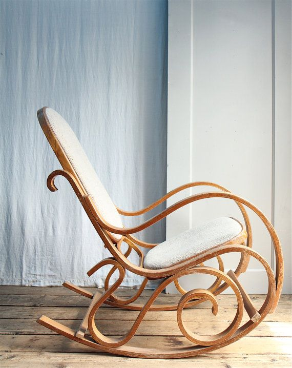 Beautiful silhouette! Can you imagine something like this with some bright patterned upholstery? What a great accent piece in any home. ON LAYAWAY  Vintage 1970s California Bentwood Rocking Chair, Thonet