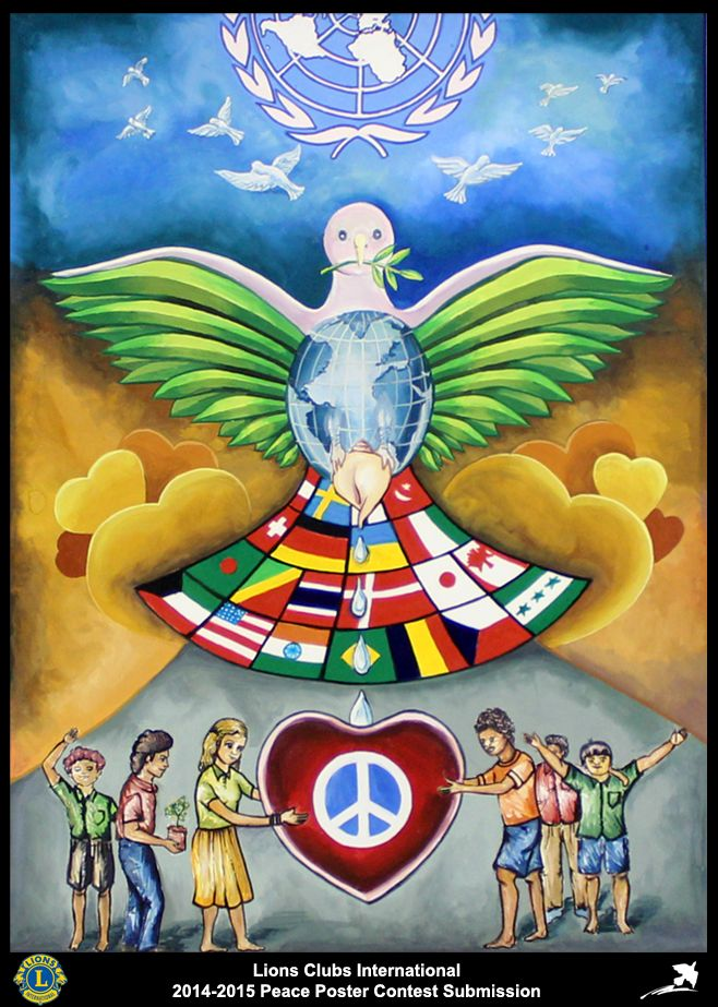 2014-15 Lions Clubs International Peace Poster Competition submission from Thrissur Sakthan Thampuran Lions Club in India