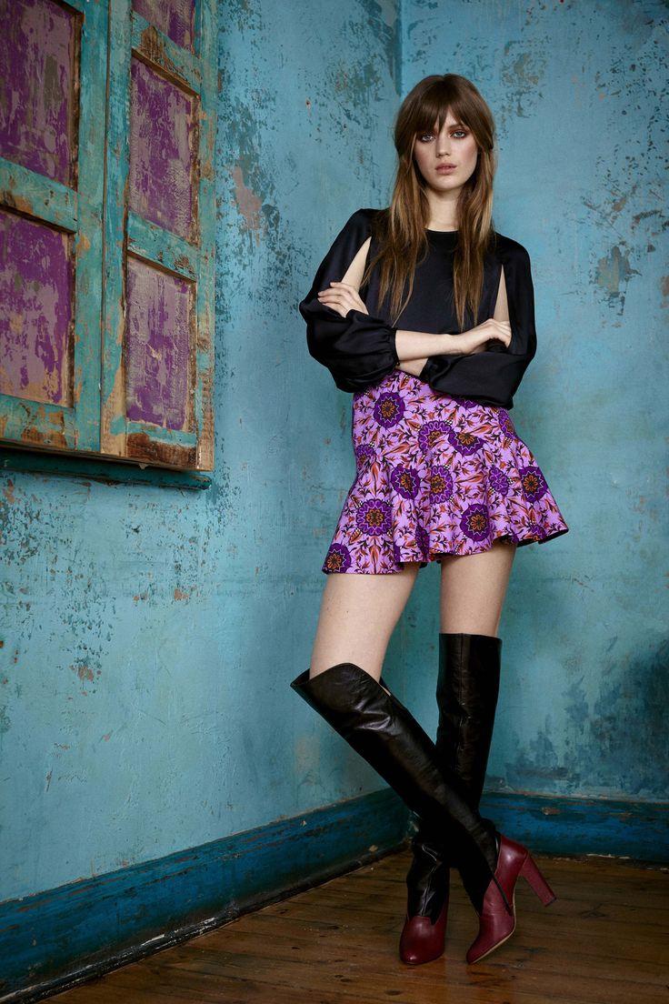Jena Silk Split Sleeve Top in midnight and Ankone Tailoring Wave Hem Mini Skirt in wisteria. Both by Matthew Williamson Pre Fall 2015