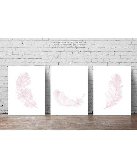 Pale Pink Nursery Wall Art Print Giclee Fine Watercolor  #pale #pink #nursery #clipart #feathers #illustration #decor #poster #painting