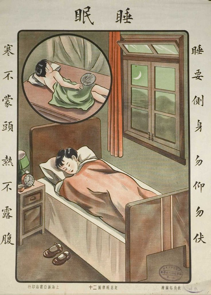 The poster shows a picture of a woman sleeping correctly by covering herself up, except for her head, during winter, and covering the belly for summer  Properly cover yourself with bedding during sleep, ca. 1935.
