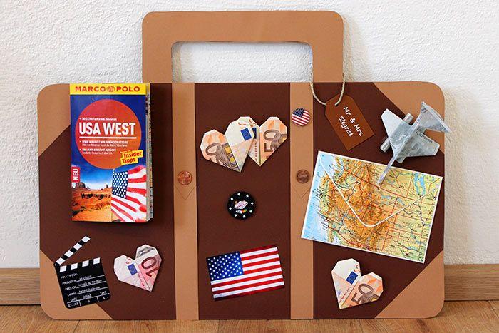 Kreatives Geldgeschenk zur Reise - ein Koffer. Hier findet ihr eine Schritt-für-Schritt Anleitung, um dieses originelle Geldgeschenk selber zu basteln.