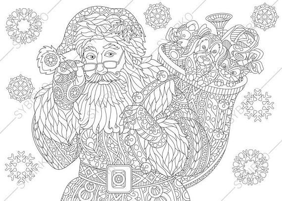 Coloring Page For Adults Digital Coloring Page Santa Claus Etsy Santa Coloring Pages Coloring Pages For Grown Ups Christmas Coloring Pages