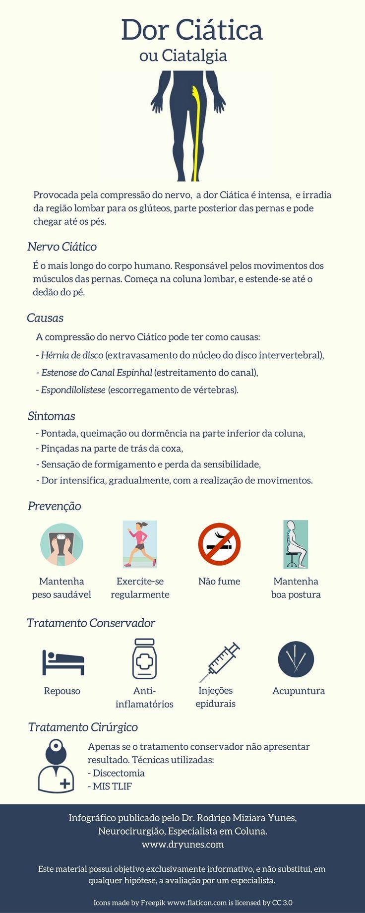 [Infográfico] A Dor Ciática ou Ciatalgia são um problema muito comum. Neste infográfico, conheça causas, tratamentos e como evitá-la. Acesse http://www.dryunes.com/o-que-e-nervo-ciatico/