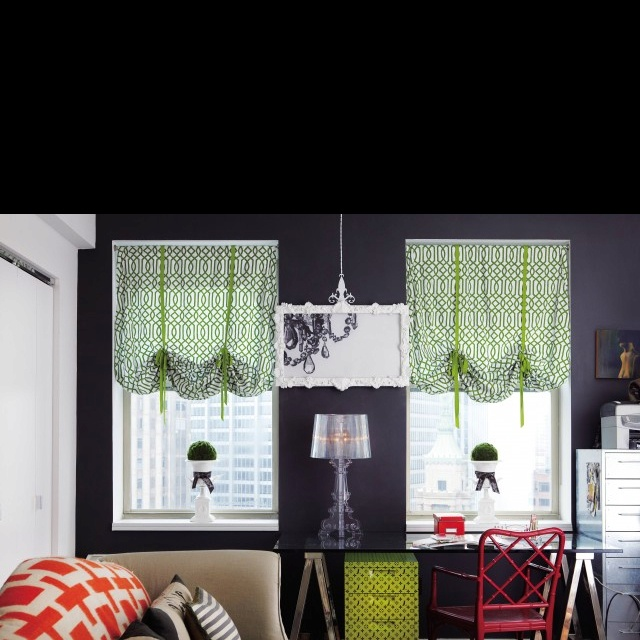 Balloon shades made with fitted sheets