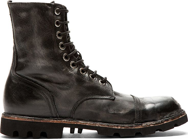 Diesel - Black Worn Leather Steel-Capped Combat Boots