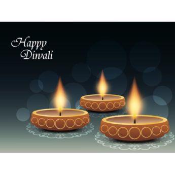 Vector Happy Diwali logo with pattern design on glowing diya in background…