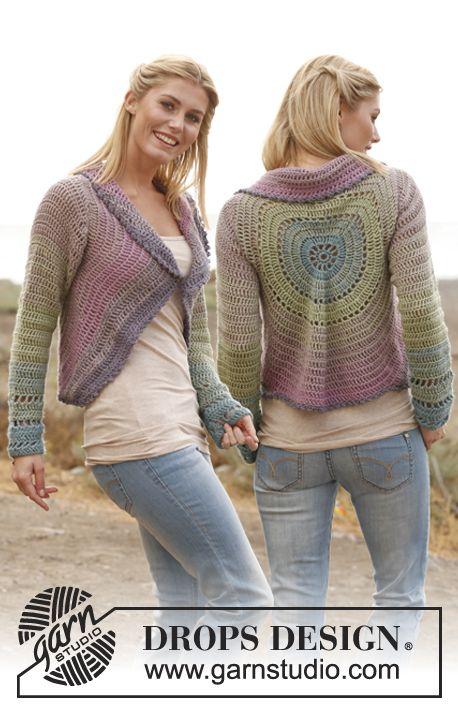 "Crochet DROPS jacket worked in a circle in 2 strands ""BabyAlpaca Silk"". Size: S - XXXL."