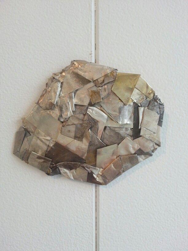 Folded, plaited silver brooch by Gillian Deery 2014