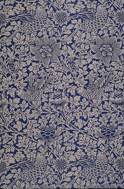 'Bird and anemone' textile design by William Morris, produced by Morris & Co in 1882  posted on flickr by John Hopper, for The Textile Blog