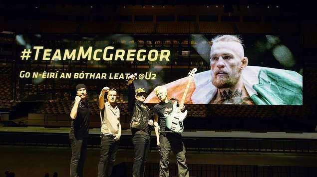 Concierto de U2 en Boston: todos con el luchador Conor McGregor