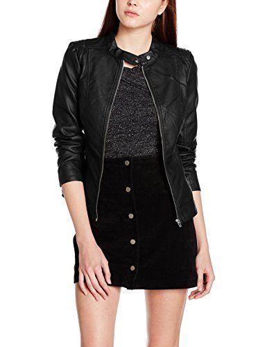 VILA CLOTHES VIAYA FAUX LEATHER JACKET-NOOS Blouson Femme Noir (Black) 42 (Taille fabricant: X-Large)