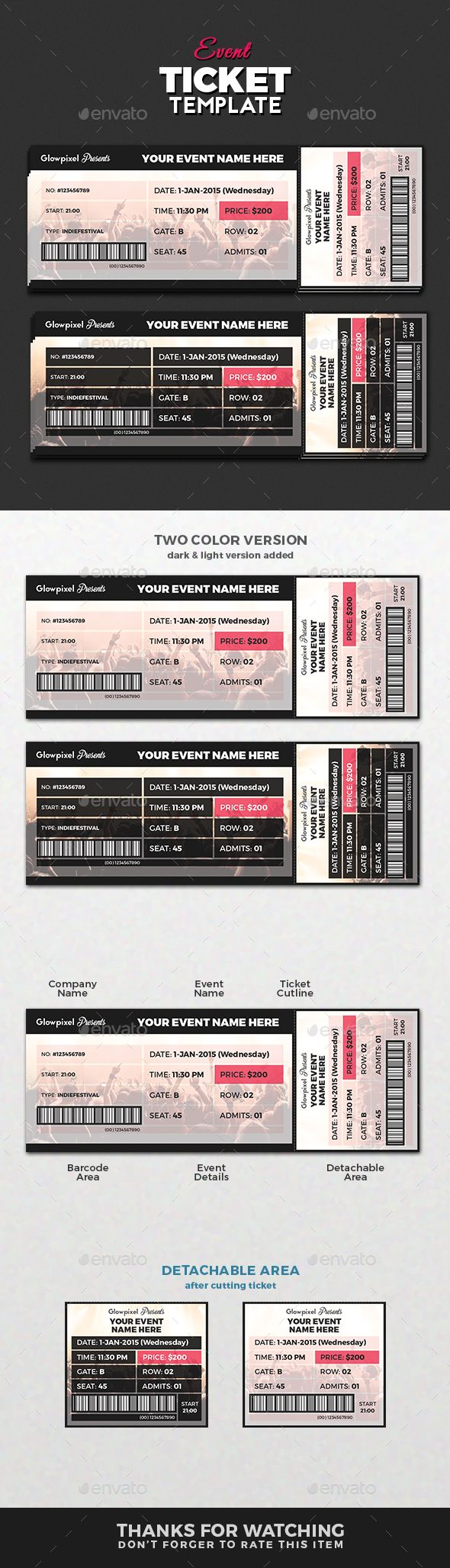 Perfect Ticket Template Photoshop Model Professional Resume - Event ticket template photoshop