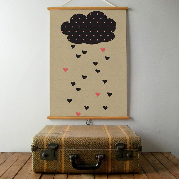 Awsome, big #poster with a craft background and a large #cloud with #hearts raining from it!