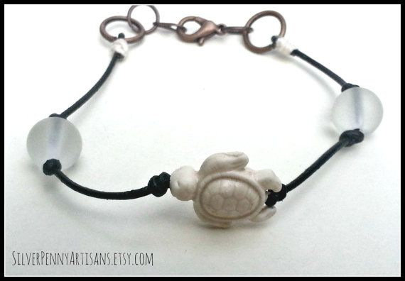 White Turtle Bracelet.  Unisex Jewelry.  by SilverPennyArtisans Come check it out at Silverpennyartisans.etsy.com for 10% off use coupon code PINTEREST10
