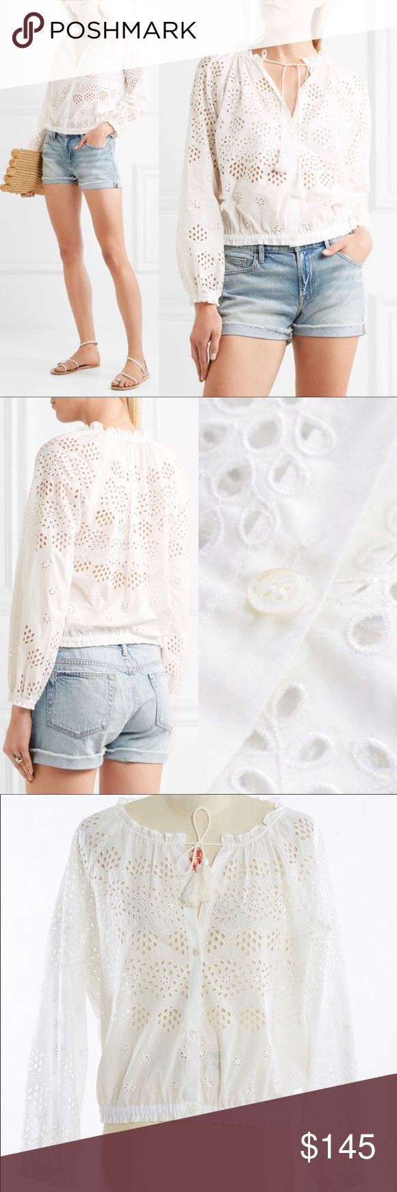 Theory Maryana Vintage Eyelet Jacket Top white new Condition: brand new without tags, never worn. 2017 s/s Collection. Theory's 'Maryana' blouse takes its cue from bohemian styles from the '70s. Cut from broderie anglaise cotton, this billowy piece has drawstring tassels and a gathered hem to define its voluminous shape. White broderie anglaise cotton - Button fastenings through front - Fits true to size - Designed for a loose fit - Elasticated at the hem - Measurements in cm:XS bust 112…