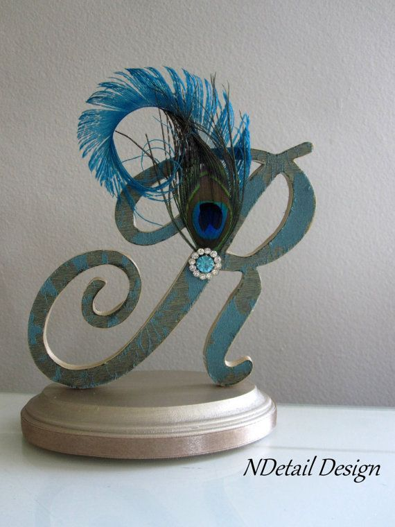 Wedding Cake Topper Monogram Custom Letter R Teal Silk, Peacock ...