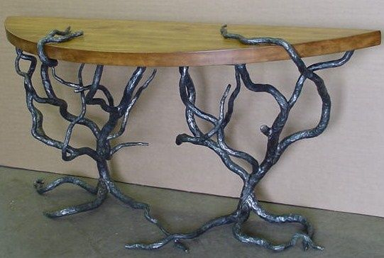 Displaying wood and metal table.jpeg