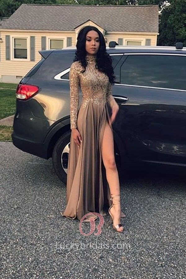 Lace Appliqued Jersey High Neck Long Sleeves Thigh-high Slit Long Prom Dress
