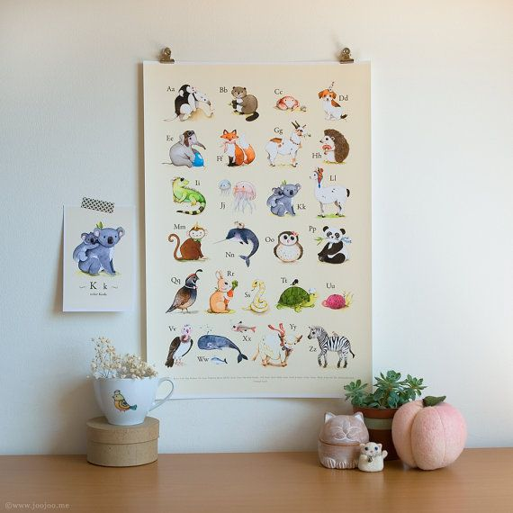 ABC print abc animals animal alphabet alphabet print by joojoo