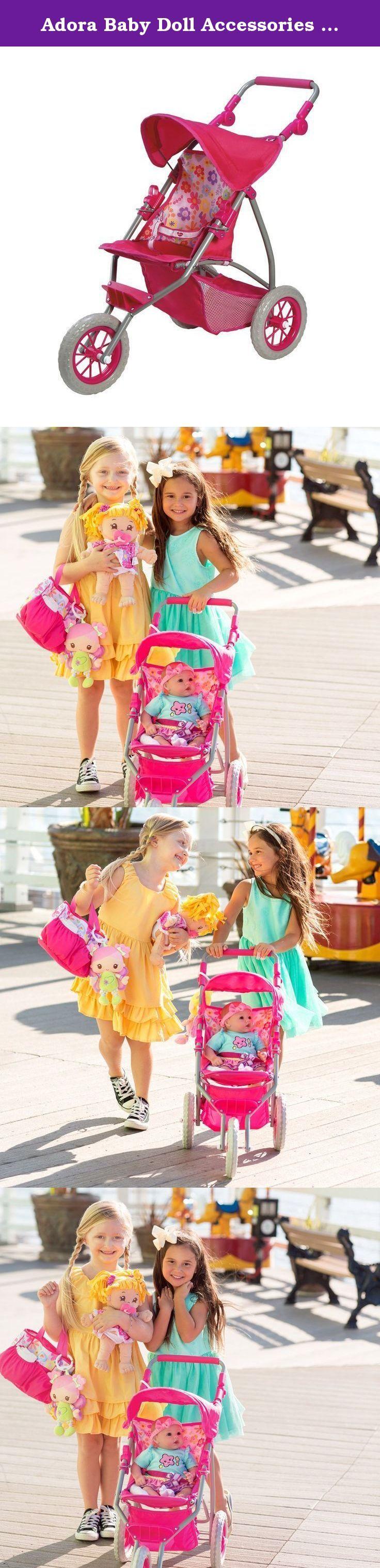 Adora Baby Doll Accessories Adjustable Handle 3 Wheel Shade Jogger with Under Storage Stroller