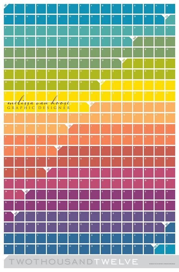 2012 Large Wall Calendar Poster Squares von vanhoosedesign auf Etsy
