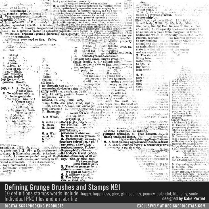 Defining Grunge Brushes and Stamps No. 01 painted dictionary definitions for scrapbooking and cardmaking and more #designerdigitals