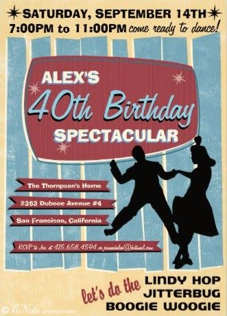 1940's Swing Dance Party Invitations and Party Ideas