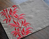 Embroidered placemats and pillows