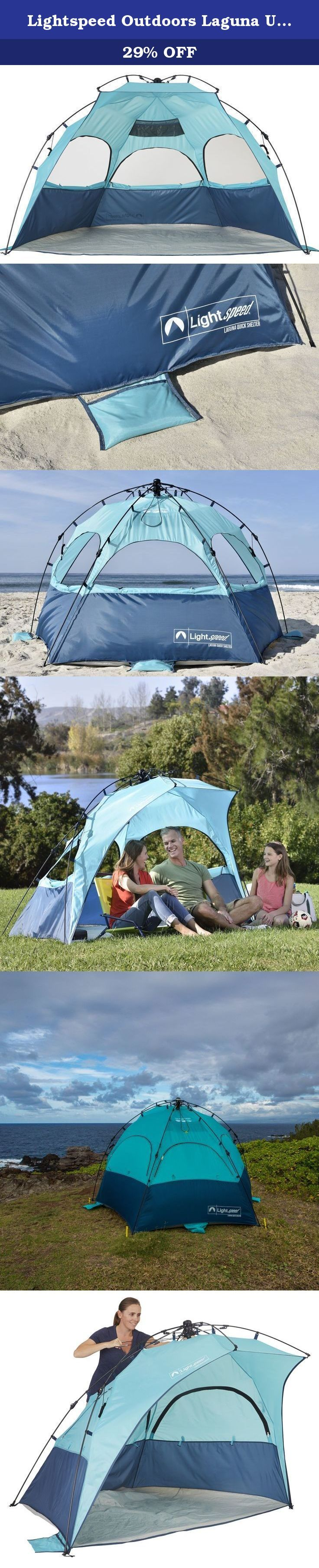 Lightspeed Outdoors Laguna UPF 50+ Easy Up Beach Canopy Sun Shelter. For a relaxing afternoon outside without feeling the heat of the sun, set up the Lightspeed Outdoors® Laguna Quick Shelter XL. Designed for sun and wind protection, the Laguna Quick Shelter offers sun protection of UPF 50+ and has 3 large zippered for enjoying the ocean breeze. Its hub system makes for easy set up and is well supported but 6 strong fiberglass poles. From the beach to soccer games, store it conveniently…