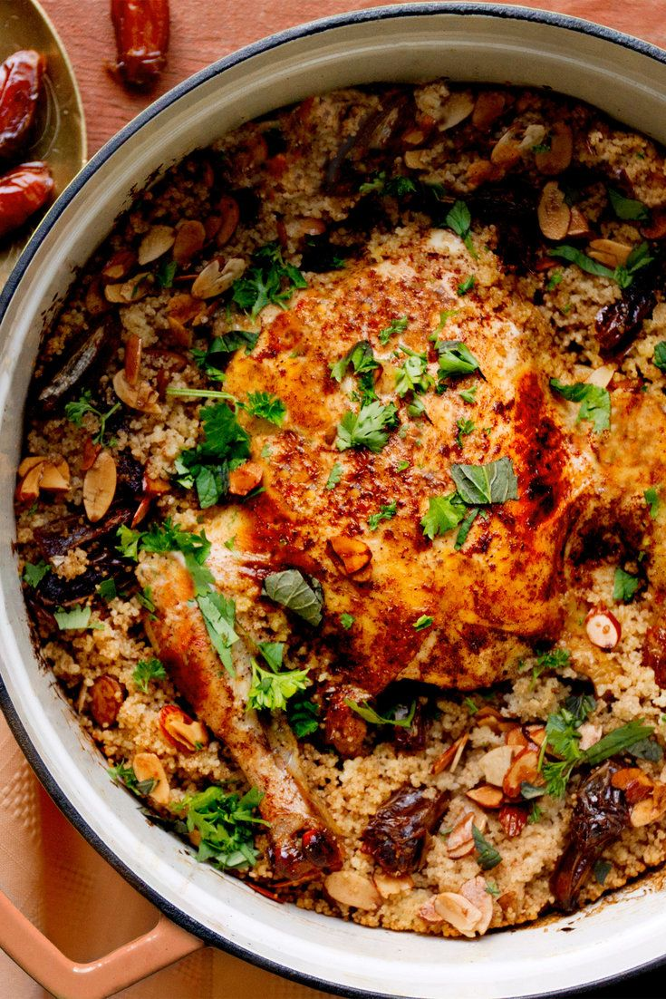 NYT Cooking: Deglet Noors dates shine when they are cooked in chutneys, desserts or North African dishes like this whole roast chicken. The chicken is cooked with fluffy couscous that absorbs the sweetness of dates and the butteriness of toasted almonds. Supermarket Deglet Noors are often dark brown and hard, because they have been kept well past their natural point of ripeness