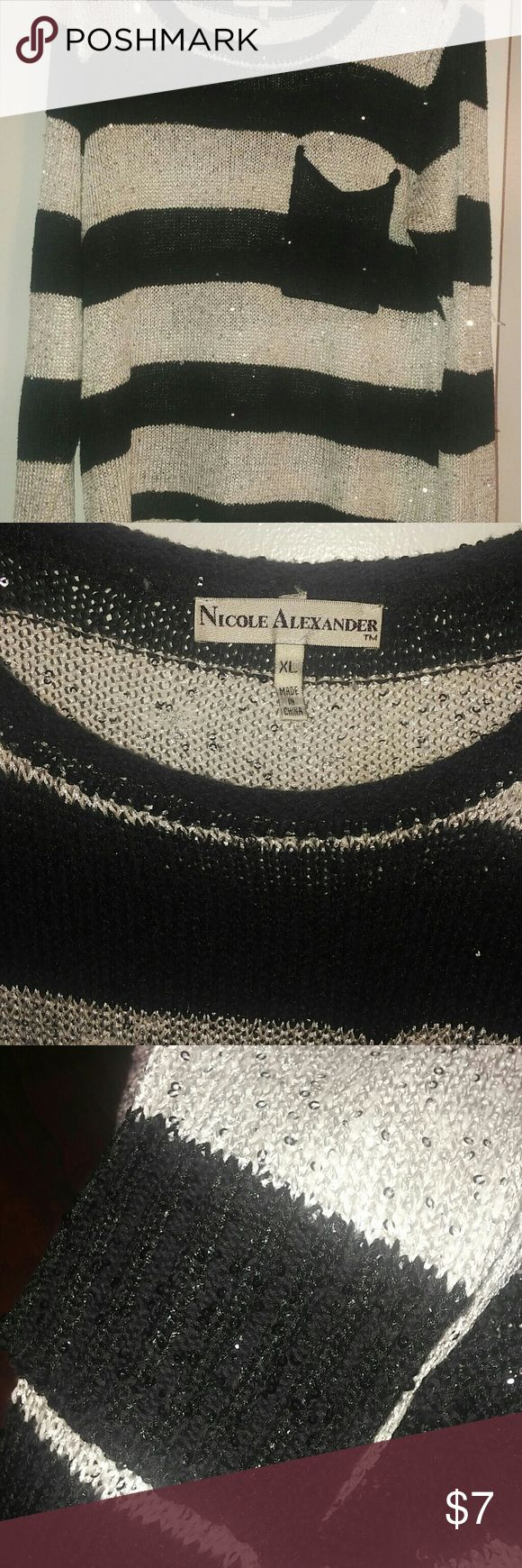 Nicole Alexander sweater This is a shimmery, beautiful Nicole Alexander sweater. Extra large, but still roomy.   Excellent pre owned condition! :-) from smoke-free home. Has a cute little pocket detail in front. nicole alexander Sweaters Crew & Scoop Necks