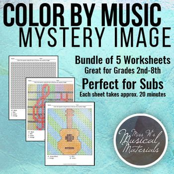 Color by Music: Mystery Image - Great for subs! #music #education #musiceducation