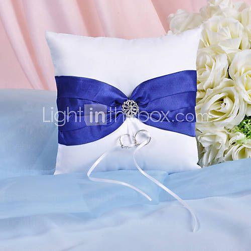 pracht ring kussen met koninklijke blauwe sjerp en strass - EUR € 7.99