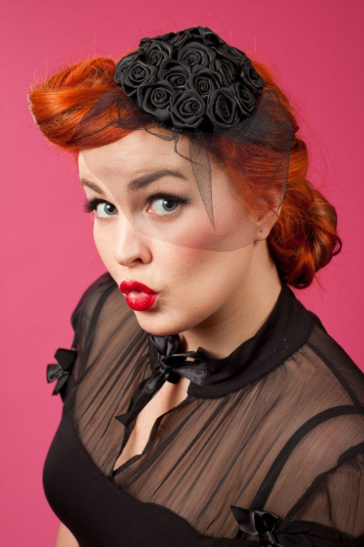 Miss Candyfloss - Miss Candyfloss - 40s Frederica Lou Fascinator Roses black ccddc354788