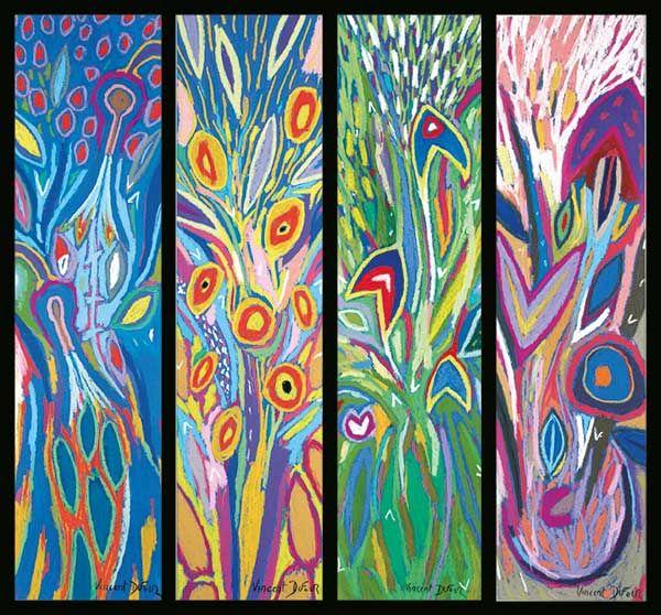 """Tableau """"Quadriptyque"""" de Vincent Dufour - Pastel sec de 50/60cm [tableau de style figuration libre et nouvelle figuration]"""