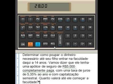 HP 12C Valor futuro de investimento Calculadora HP12C Valor atual taxa d...